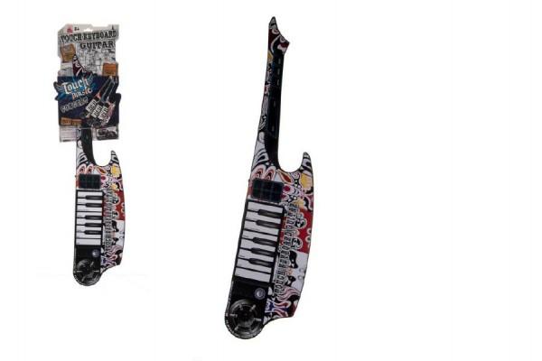 Kytara keyboard dotyková plast 77cm na baterie se zvukem na kartě