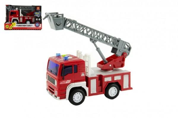 Auto hasiči s plošinou plast 20cm na baterie se zvukem se světlem v krabici 24x15x11cm