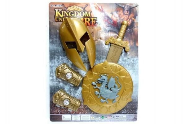 Sada rytíř meč, štít s přilbou a doplňky plast na kartě 43x58cm