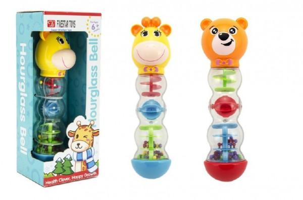 Chrastítko medvídek přesýpací plast 20cm v krabici 11x28x9cm 6m+