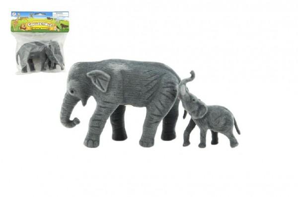 Slon a slůně 2ks zvířátko fliška 15cm v sáčku