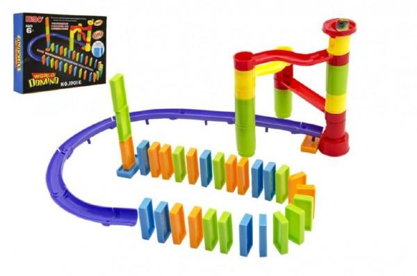Domino padající s kuličkou plast 76ks v krabice 28x20x5cm