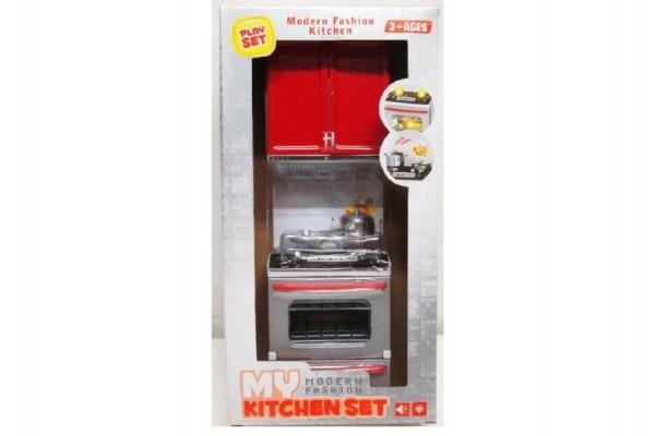 Kuchyňka vařič s nádobím a doplňky plast 32cm na baterie se světlem se zvukem v krabici 18x35x10cm