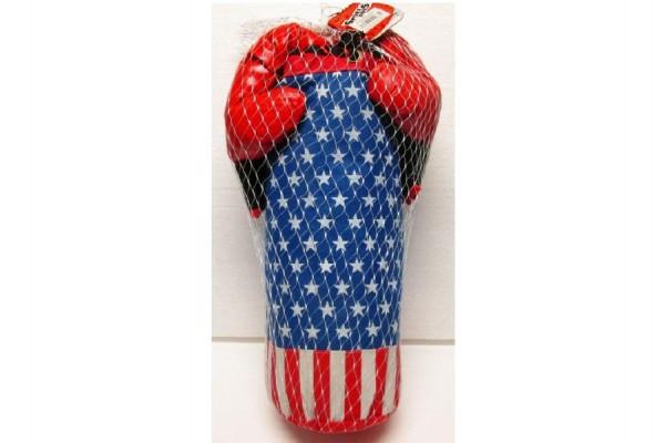Sada boxovací pytel + 2 rukavice 48cm asst 2 barvy v síťce