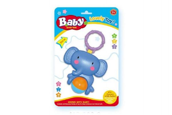 Chrastítko slon na zavěšení plast 20cm na kartě 0+