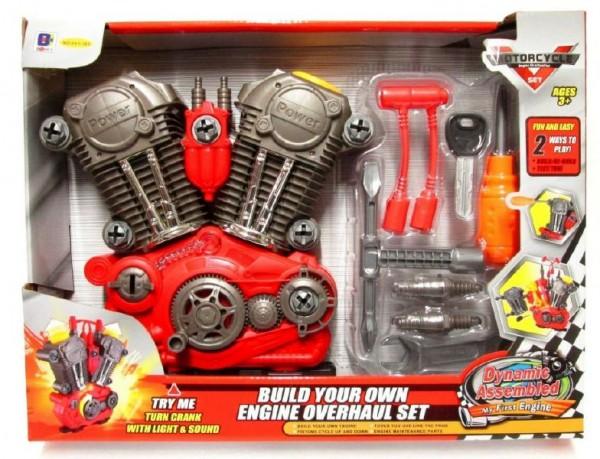 Motor funkční šroubovací + nářadí plast 20ks na baterie se zvukem se světlem v krabici 42x32x7cm