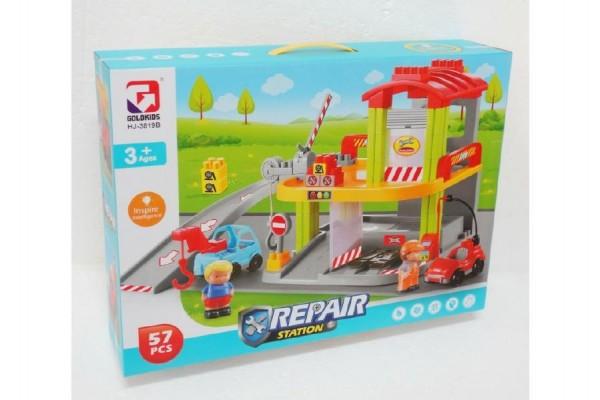 Stavebnice opravna aut 57 dílků plast v krabici 48x35x11cm