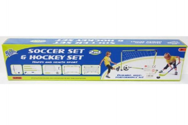 Branka fotbal + hokej 2v1 s doplňky plast v krabici 75x17x9cm