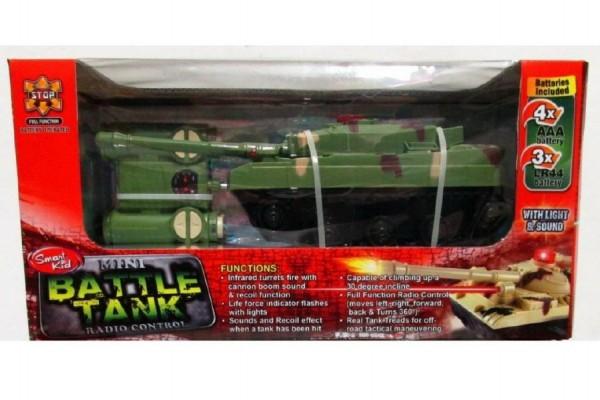 Tank RC plast 20cm na baterie se světlem se zvukem asst 2 barvy v krabici 26x14x12cm