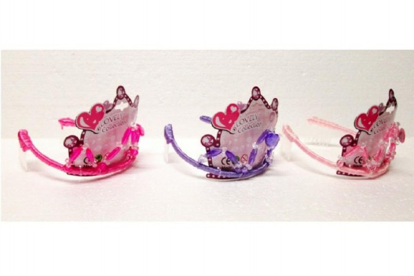 Korunka čelenka pro princeznu plast 13cm asst 3 druhy