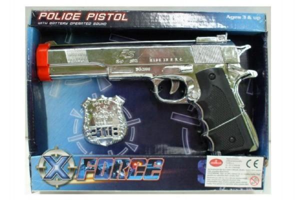 Pistole s odznakem policie plast 24cm na baterie se zvukem v krabici 26x20x4cm