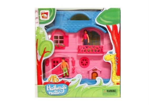 Domeček pro panenky s postavičkami plast 27cm asst 2 druhy v krabici 27x29x8cm