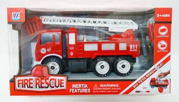 Auto hasiči šroubovací plast 25cm na setrvačník v krabici 36x20x13cm
