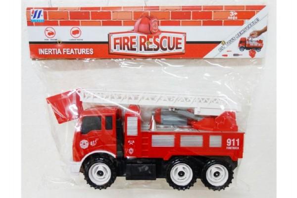 Auto hasiči s nářadím plast 28cm na setrvačník v sáčku