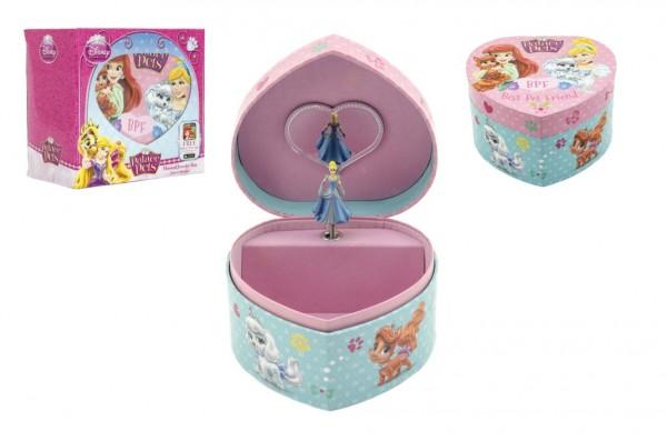 Skříňka šperkovnice hrající srdce plast v krabici 15x14cm