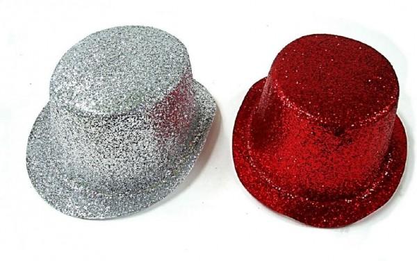 Klobouk party se třpytkami plast 27cm asst 2 barvy karneval