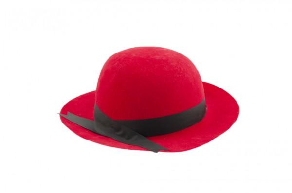 Klobouk karnevalový plast červený 27cm karneval