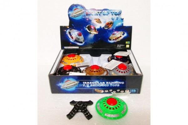 UFO na setrvačník plast 10cm se stojánkem svítící asst mix barev 6ks v boxu