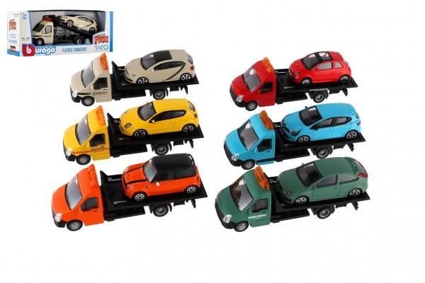 Auto/kamion Bburago odtahovka + auto 1:43 kov/plast 21cm  6 barev v krabičce 22x9x6,5cm