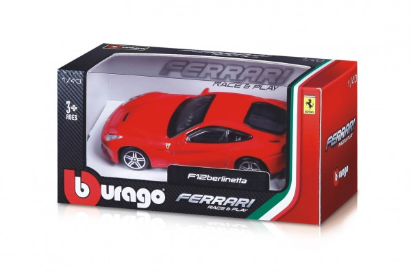 Auto Bburago 1:43 Ferrari Race & Play kov/plast 5 druhů v krabičce 14x7x7cm 12ks v boxu