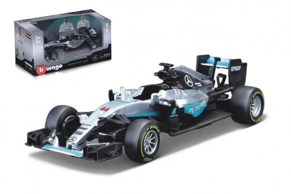 Auto Bburago 1:43 Mercedes F1 AMG W07 hybrid formule kov/plast v krabičce 14x7x6,5cm  24ks v boxu