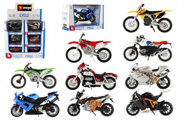 Motorka Bburago kov/plast 11-12cm 1:18 mix druhů v krabičce 17x11x7cm 18ks v boxu
