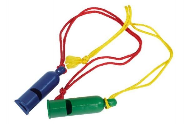 Píšťalka signální plast 7cm se šňůrkou na krk asst 2 barvy