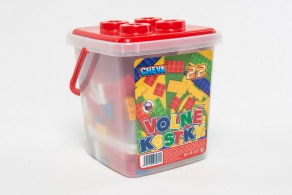 Stavebnice Cheva 22 Volné kostky plast 17x22x17cm 242ks v kbelíku