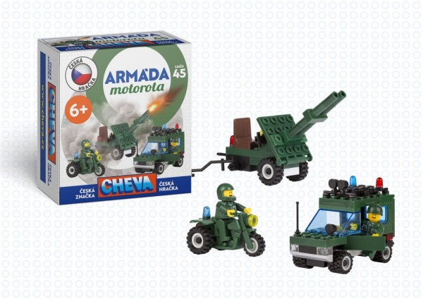 Stavebnice Cheva 45 Jeep vojenský s dělem  plast 123ks v krabici 18x19x9cm