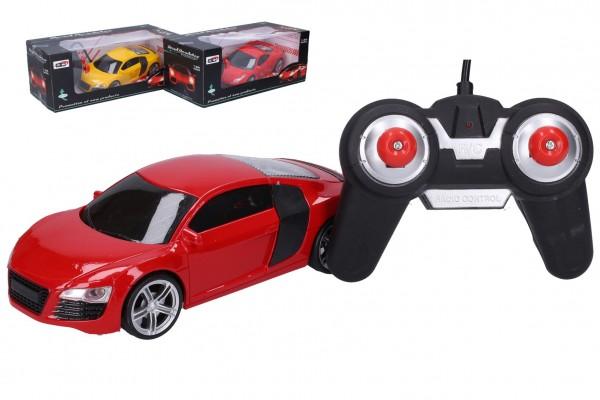 Auto RC plast 18cm 27 MHz na baterie se světlem 2 barvy v krabici 27x10,5x13cm
