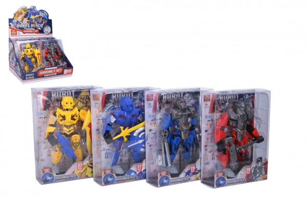 Robot bojovník skládací plast 17 cm 4 barvy v krabičce 15x20,5x6cm 8ks v boxu