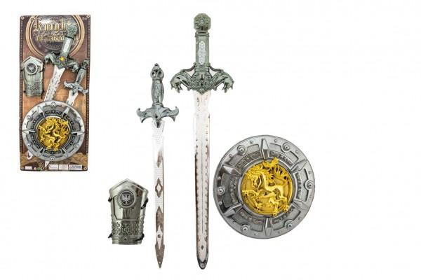 Rytířská sada plast meč 50cm dýka štít chránič na ruku 4ks na kartě