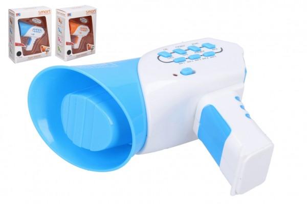Megafon měnič hlasu plast 13 cm na baterie se zvukem 2 barvy v krabičce 16x20x7,5cm