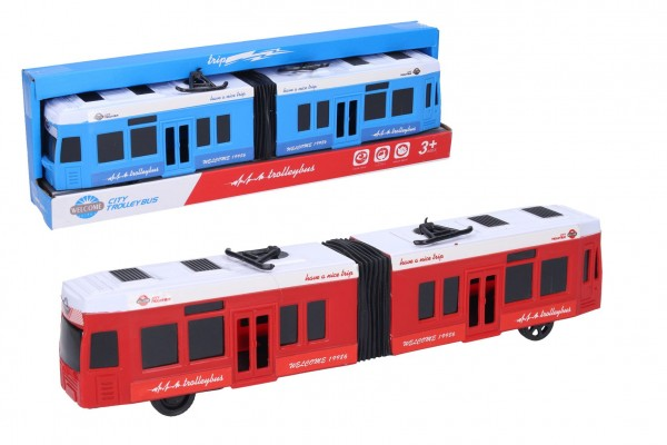 Tramvaj plast 31cm 2 barvy v krabičce 32x10x6cm