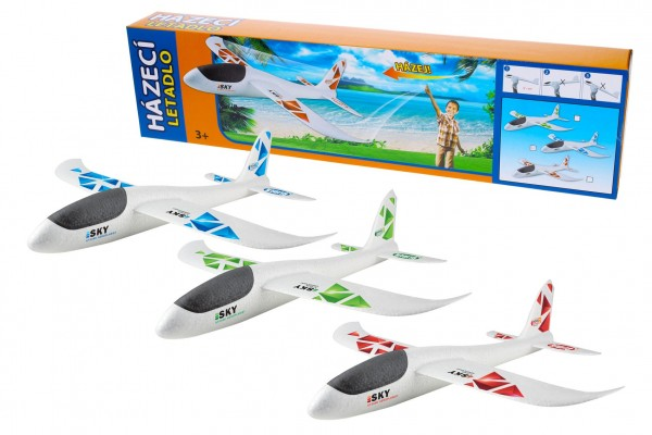 Letadlo házecí polystyrén model 47x49cm v krabičce 50x13x6cm