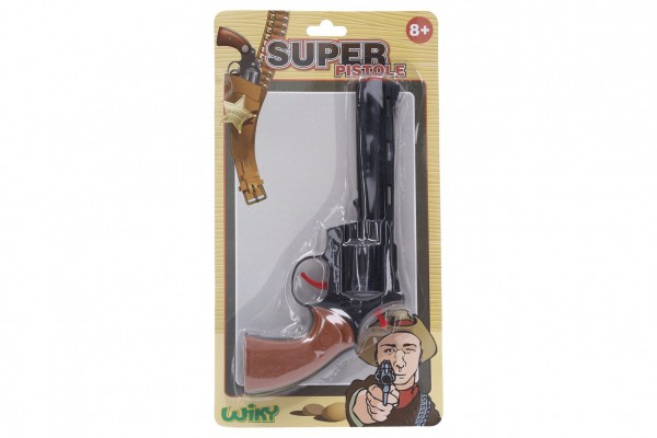 Pistole na kapsle 8 ran plast 23cm na kartě 17x31x3cm