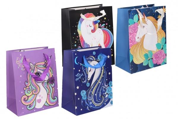 Dárková taška dětská s jednorožcem mix barev 18x23x10cm
