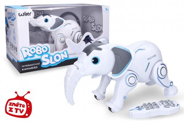 Robo-slon RC plast 33 cm na baterie + dobíjecí pack se světlem se zvukem v krabici 46x26x23cm
