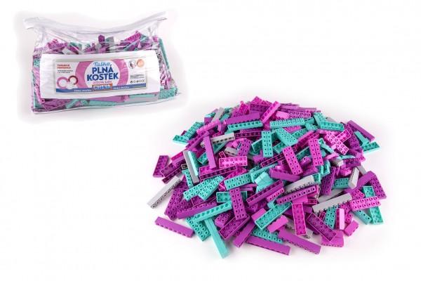 Stavebnice Cheva Taška Plná Kostek plast Růžová sada 2 kg v plastové tašce