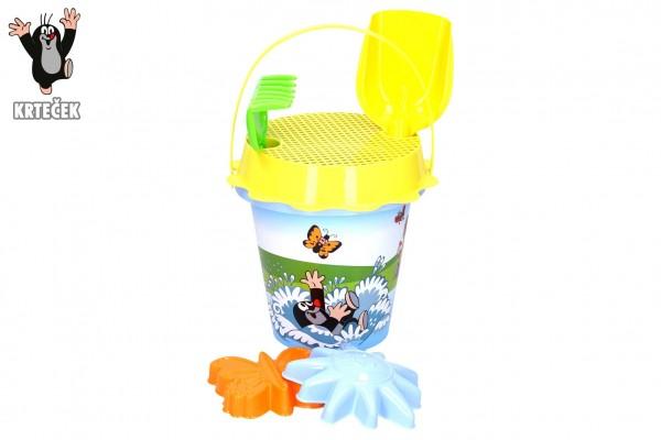 Sada na písek 6ks plast kbelík, lopatka, hrabičky, bábovka 2ks, sítko v síťce17x26x17cm