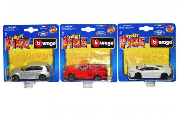 Auto Bburago Street Fire kov 10cm 1:43 asst 28 druhů na kartě
