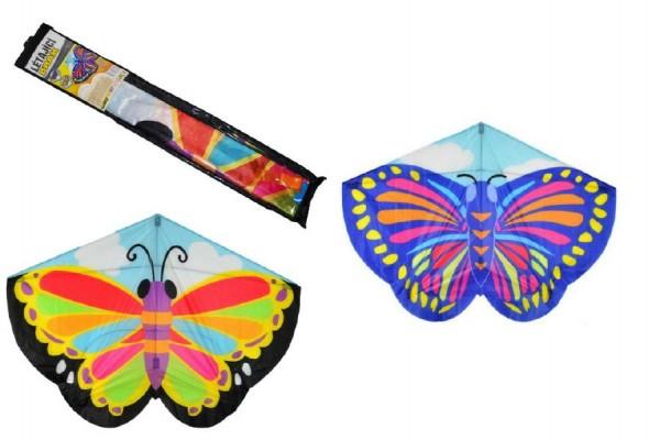 Drak létající motýl plast 138x110cm asst 2 barvy v sáčku