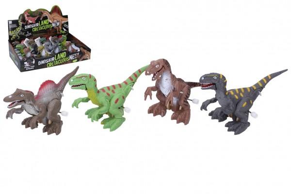 Dinosaurus se světelnými efekty 14cm plast na natažení mix barev na baterie 12ks v boxu