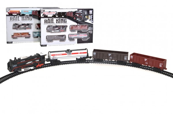 Vlak s kolejemi plast 104x68cm na baterie se světlem se zvukem v krabici