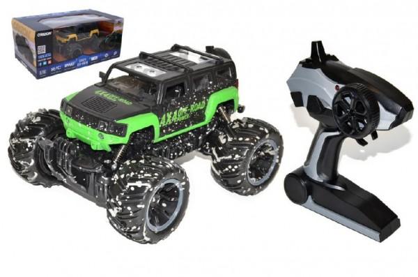 Auto RC terénní plast 25cm na dálkové ovládání+bateriový pack+USB asst 2 barvy v krabici 41x22x20cm