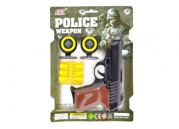 Pistole špuntovka s náboji + 2 terče plast 16cm na kartě