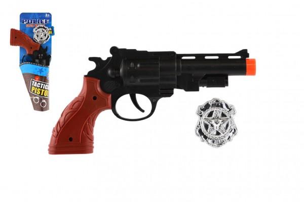 Pistole klapací + policejní odznak plast 22cm 2 barvy na kartě