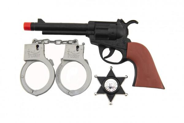 Pistole/Kolt klapací 22cm plast šerifská hvězda a pouta westernový set na kartě