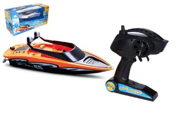 Motorový člun/loď do vody RC plast 28cm na baterie+dobíjecí pack+USB 2,4Ghz v krabici 45x22x17cm