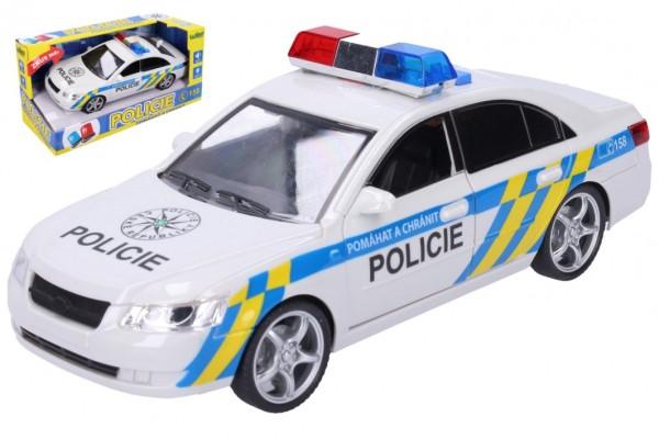 Auto policie plast 24cm na baterie se zvukem se světlem v krabici 28x14,5x12cm